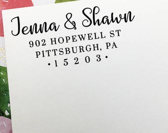 Custom Return Address Stamp, Self Inking Stamp, Personalized Address Stamp, Wooden Rubber Stamp, Wedding Address Stamp, Housewarming Gift
