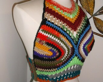 Hand Crochet Halter Top, Crochet top, Bikini Top, Beach Wear,Hippie Chic, Hobo Chic, Bohemian, Rainbow crochet top, in Mulit Colors