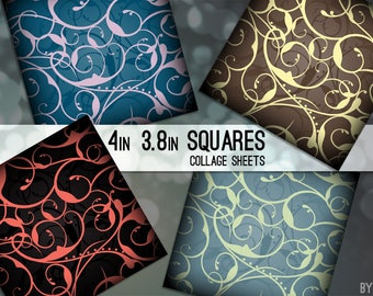 Digital Collage Sheets Elegant Swirls 3.8 and 4x4 Inch Square Printable Download Scrapbooking Greeting Cards Coasters Gift Tags JPG C0062