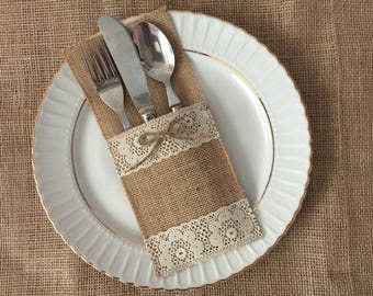 10 burlap and narual color lace silverware holders - utensil holder, wedding table decoration
