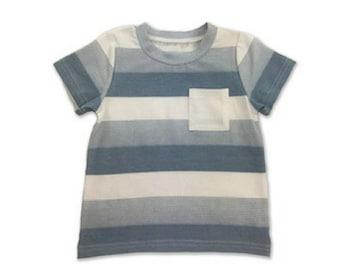 Boys Tee, Kids Clothing, Boys Stripe Tshirt, pale blue shirt