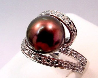 Cultured Pearl 11mm white gold diamond ring .51 carats 0203 MMMM