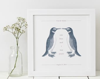 Personalised Penguin Print; Anniversary Gift; Penguin Gift; Penguin Art; Penguin Love Gift; Wedding Gift; PAP028