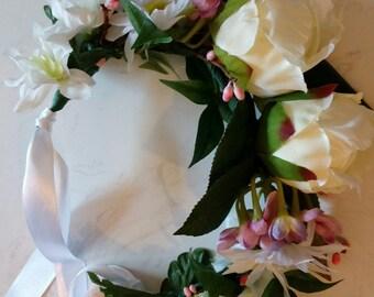 Flower crown/wreath peonies, daisies, pink, purple