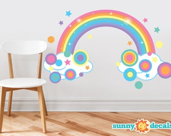 Rainbow Fabric Wall Decal, Sparkling Rainbow with Polka Dots and Stars in Pastel Colors, Repositionable, Reusable, Three Size Options