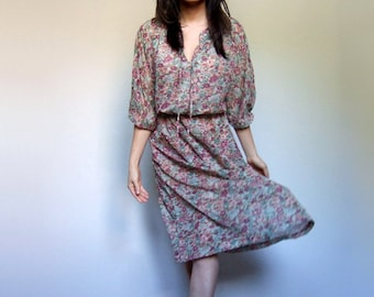 Sheer Boho Dress 70s Beige Floral Sundress Women Simple Summer Sun Dress - Extra Small XS/ S