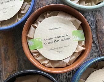 Organic Shaving Soap - Patchouli & Orange - Stoneware Pot - Vegan