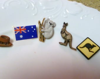 Earrings Mix and Match Collection Australia Themed Mix Set of 5 Five Mix and Match Flag Koala Kangaroo and More