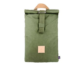 Winnats Roll Top Backpack – Forest – Made in UK