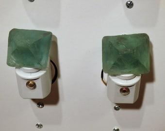 Automatic Sensor Blue-Green Flourite Octahedron LED Gemstone Night Light//Geode//Crystals// Nite Light
