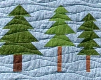 Tree Line Quilt BLOCK Pattern, PDF, Instant Download, modern patchwork, animal, forest, woodland, camping