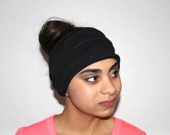 Black Headband, Scrunch Headband, Yoga Headband, Running Headband, Workout Headband, Fitness Headband, Extra Wide Headband, Turban Headband