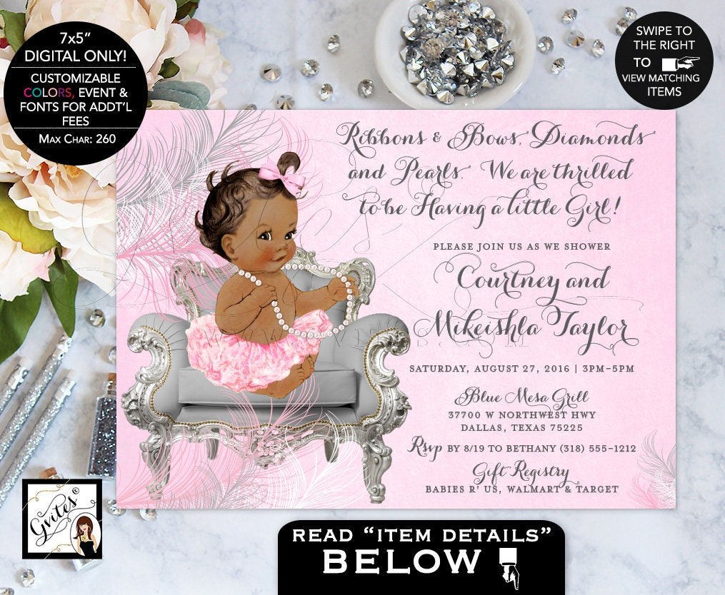 African American baby shower invitation, ribbons bows, diamonds ...