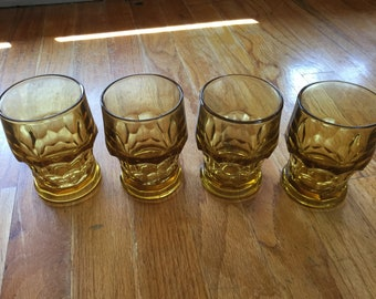 1960's Amber Glass Anchor Hocking Honeycomb Glasses
