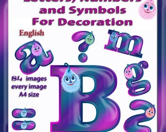 English Digital Letters, numbers and symbols decorate - Bubi