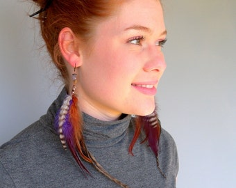 Woodland Berry Fashion Feather Fringe Earrings with Free USA Shipping