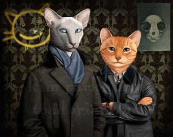 Sherlock - Holmes and Watson - Cat Print Signed