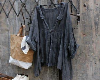 Abella Gauze Linen Jacket Charcoal