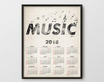 Alto Saxophone Calendar 2018 Music Calendar Print Music