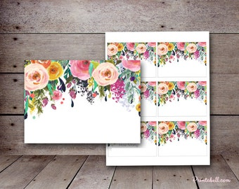 Printable Labels Cards, Floral Bridal Shower Labels, Flower Baby Shower Labels, Wedding Shower BS138 tlc140 bs402 TLC140 wc23