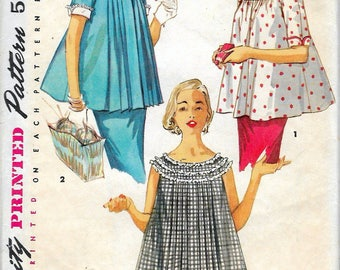 """Vintage 1955 Simplicity 1472 Maternity Tops with Detachable Collar & Cuffs Sewing Pattern Size 16 Bust 34"""""""