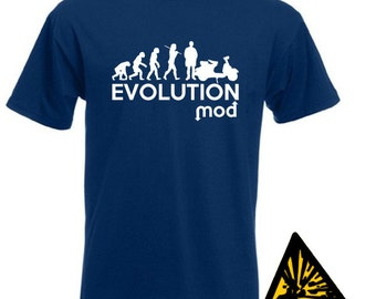 Evolution Of Man From Ape To Mod T-Shirt Joke Funny Tee T Shirt Tshirt Scooter