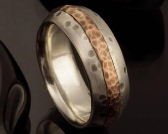 Men's wedding Band, Men's Wedding Ring, Silver Copper Ring, Wide Men Wedding Band, 8 mm Ring, Comfort Fit Ring , Men's Gift, RS-1233