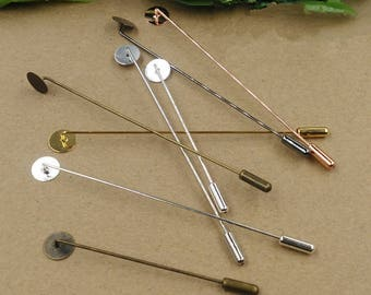 20sets 6mm/8mm/10mm Copper Brass Needle Eyepin DIY Clutch Brooch Finding Pin Back Stick 65mm/93mm Thickness 1mm Pad  Base XJ156