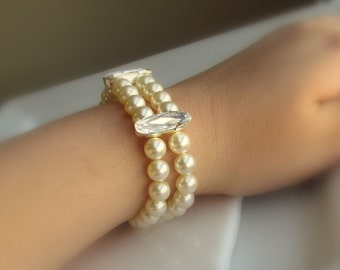 Pearl Bracelet, Cream Ivory Pearl, 2 Strand Pearl Bracelet, Pearl Bridesmaid Bracelet, Old Hollywood Jewelry, Vintage Style Wedding Jewelry