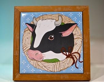 SALE! Vintage Cow Decorative Tile