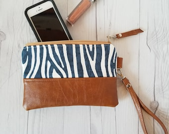 Navy Blue Wristlet - Wristlet Wallet - Womens Wallet - Faux Leather - Small Crossbody - Phone Wallet - Wristlet Purse - Bridesmaid Gift