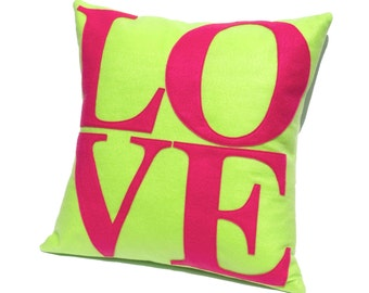 LOVE Pillow Cover Appliquéd in Bright Spring Colors -Neon Green and Shocking Pink Eco-Felt | Gift For Her | Mid-Century Mod Decor