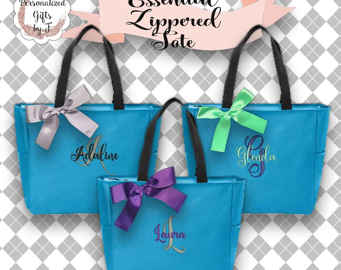5 Personalized Tote Bag Bridesmaid Gifts (Set of 5) Monogrammed Tote, Bridesmaid Tote, Personalized Tote