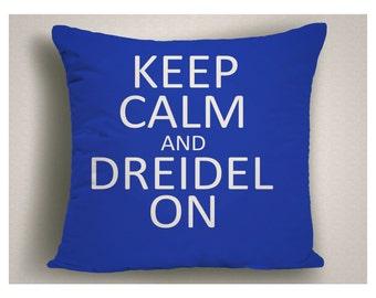 Hanukkah Dreidel Pillow Keep Calm and Dreidel On, Hanukkah Decorations, Hanukkah Gifts, Jewish Gifts, Unique Dreidel Pillow