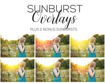 Photoshop Overlay - Sunburst Overlays + 2 NEW Sunbursts! | Photoshop overlays, Photoshop actions, sunflare overlays, sun overlay, photoshop