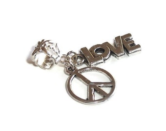 Double Charm, Peace and Love, Large Hole Dangle Bead fits European Style Charm Bracelets & Necklaces, European Charms, Big Hole Charm Bead