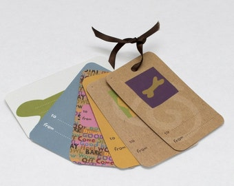 Dog themed gift tag set of 6 assorted designs