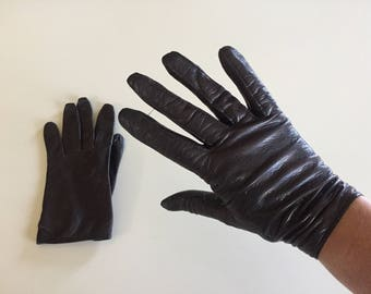 Vintage 40s Brown Leather Gloves