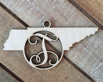 Tennessee State Christmas Ornament - Monogram TN Ornament - Wood Tennessee Christmas Ornament - Personalized Tennessee State Ornament