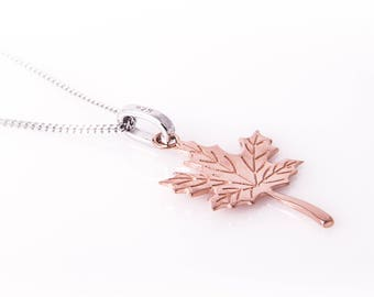 Maple Leaf Charm Sterling Silver with Rose Gold Plating- Maple Leaf Necklace - Canada Gift - Red Maple Leaf - Canadian Jewellery