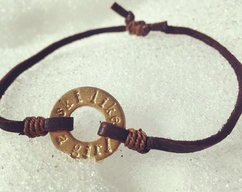 Ski like a girl, hand-stamped bracelet + donation to Planned Parenthood