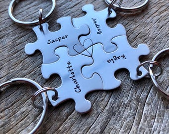 Customized Set of 4 Puzzle Piece Key Chains Personalized with Names  best friends sorority sisters key chain Christmas Gift