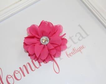 Hot Pink Chiffon Rhinestone Flower Clip