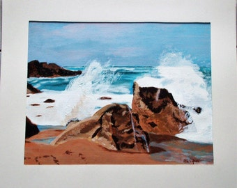 "painting in acrylic ""Beach of Brittany"""