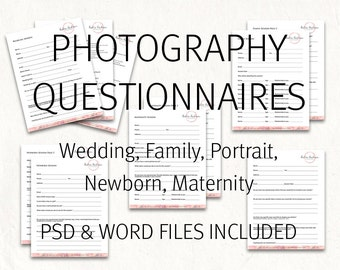 Questionnaire etsy photography questionnaires portrait maternity family newborn wedding questionnaires photography questionnaire junglespirit Images