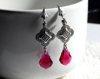 Oxidized Sterling Silver Quatrefoil and Ruby Swarvoski Crystal Baroque Earrings - Victorian Style Earrings