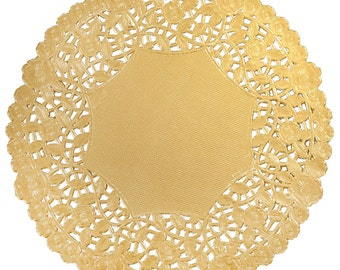 "100 - 6"" GOLD Metallic Foil PAPER Lace DOILIES 