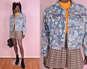 90s Floral Print Cropped Denim Jacket/ Large/ 1990s