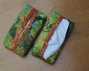 Handmade Lime Green and Orange Fabric Tissue Holders for  purse, pocket, diaper bag, child's backpack, vehicle console or sun visor