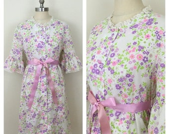 30% Off Sale 60s Lorraine White Pink Purple Floral Bell Sleeve Robe or Dress, Size M